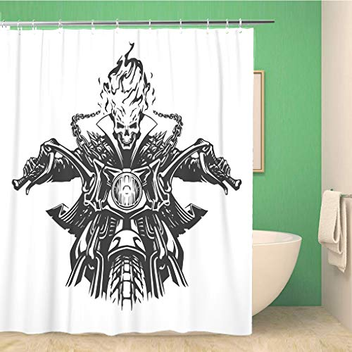 Awowee Bathroom Shower Curtain Ghost Dead Rider Skull Motorcycle Motor Motorbike Skeleton Flame Devil Polyester Fabric 72x72 inches Waterproof Bath Curtain Set with Hooks -