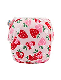 babygoal Reusable Swim Diaper, One Size Adjustable and Washable Swim Underwear Fits 0-2 Years Babies and Swimming Lessons FSW11-CA Strawberry
