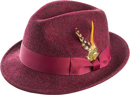 (MONTIQUE Men's Snap Brim Crushable Felt Wool Fedora Hat H10 L, Wine)