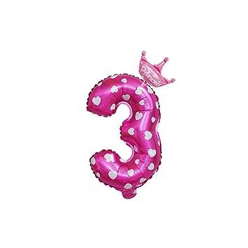 Número 3 Suministros Foil Viejo Decoración de fiesta de cumpleaños globo de tres años para los niños y niñas grande de láminas apoyos de la foto ...