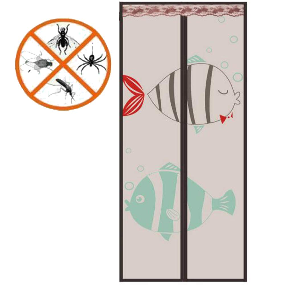 Brown 100200cm Curtain Door Mesh Magnetic Hands Free Fly Bug Insect Screen Door Screen with Magnet Mosquito Door Screen Heavy Duty Anti-Insect,Beige,90  200cm