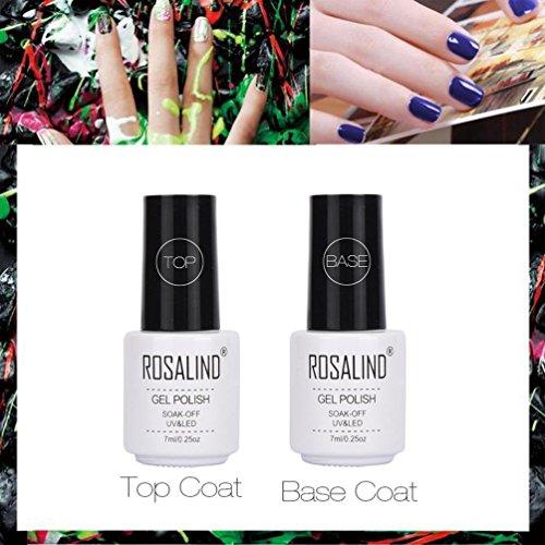 Hunpta 2pcs Top Coat + Base Coat Base Diamond Vernis à ongles gel UV Nail Art