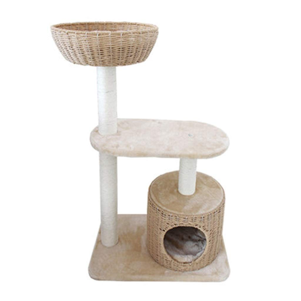 B (white) JIYPlay Towers & Trees Cat climbing frame cat shelf cat litter cat tree villa large cat climbing tree solid wood cat jumping platform with nest (color   B (white))