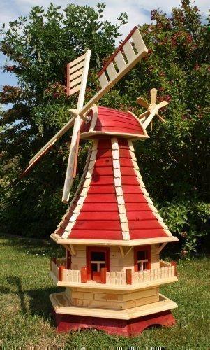 Große Windmühle mit Solarbeleuchtung 1,30 m rot/natur Typ 3