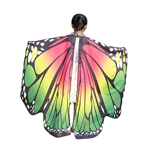 VEFSU Kid Baby Girl Party Butterfly Wings Shawl Scarves Nymph Pixie Poncho Costume Accessory (Green) ()