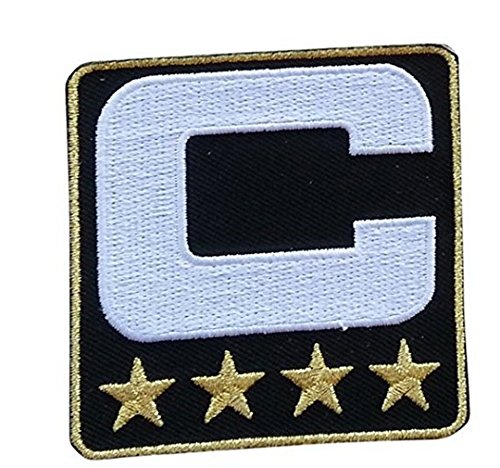 Black Captain C Patch (4 Gold Stars) Sewing On for Jersey Football, Baseball. Soccer, Hockey (Black Embroidered Football)