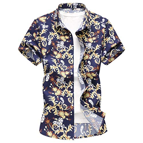 Men Hawaiian Shirt-Short Sleeve Button Down Hawaiian Aloha T-Shirt Front Pocket Beach Floral Printed Tee Top