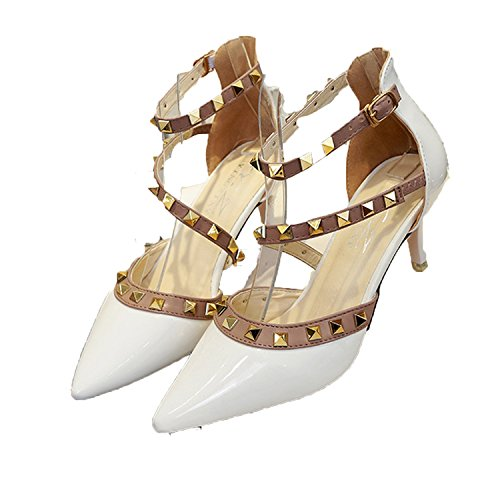 Special-Shop New Rivets High Heels Pointed Fine with Sandals Feminine Senses Bandages Model Catwalk Shoes,White,38