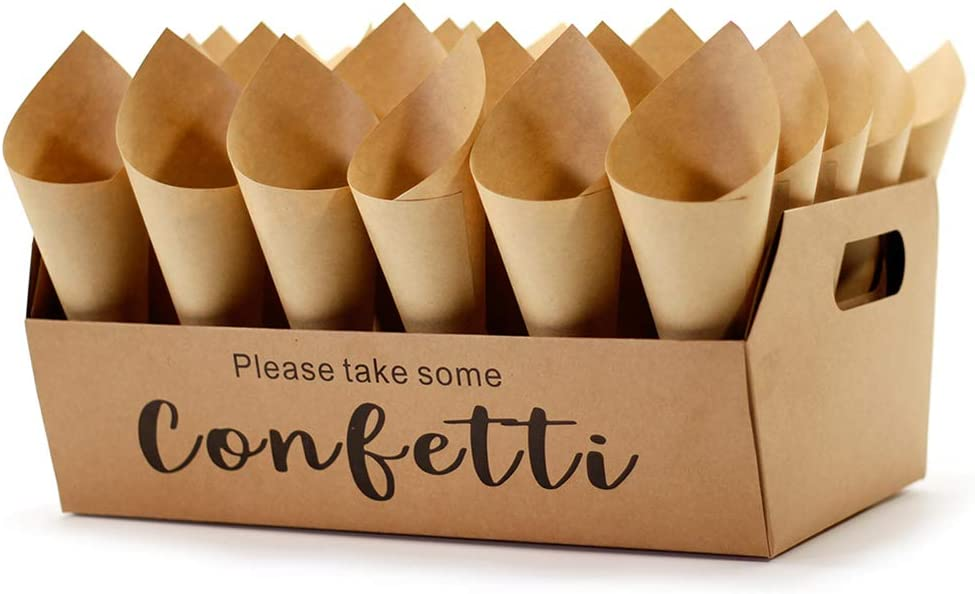 Confetti Cone Stand Box Tray - Wedding Confetti Holder Stand Box Tray, 30pieces of Cone Papers and 30Holes for 30 Confetti Cones, Stand Tray Holder Box is Fold by Yourself