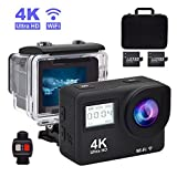 Accfly Sports Action Camera - 4K Waterproof Sport Camera - 170 Degree Wide Angle WiFi HD Cam - 12MP 2 Rechargeable Battery - Free Travel Bag