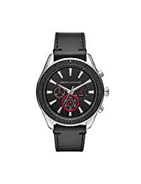 Armani Exchange AX1817 Men's Quartz Stainless Steel and Leather Casual Watch, Black