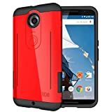 TUDIA RYFT Tough Rugged Dual Layer Protective Case with Kick Stand Features for Google Nexus 6 (Red)