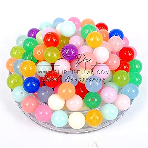 Scattered Beadings - Lingduan 2000 PCS Jelly Beads Candy Colored Beads Children DIY Hand-Beaded Spring Color Acrylic Beads Handmade Jewelry Beads (Translucent)