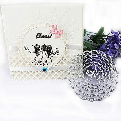 Cutting Dies Round with Bow Embossing Stencils for Card Making Scrapbooking - Die 1 Round Wire