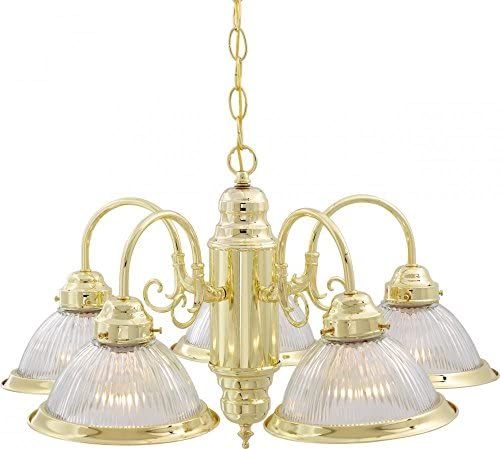 Nuvo Lighting SF76 281 Five Light Chandelier, Brass-Polished Cast