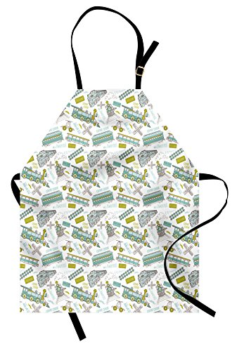 Steam Engine Apron by Ambesonne, Choo Choo Train Kids Boy Pattern Blue Green Number Plate Vintage, Unisex Kitchen Bib Apron with Adjustable Neck for Cooking Baking Gardening, Apple Green Turquoise (Train Steam Plate)