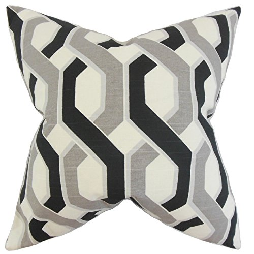 The Pillow Collection Chauncey Geometric Grey Black Down Filled Throw Pillow