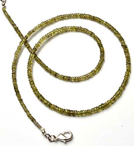 JP_Beads 1 Strand Natural Yellowish Green Sapphire 2 to 3MM Facet Rondelle Bead 17