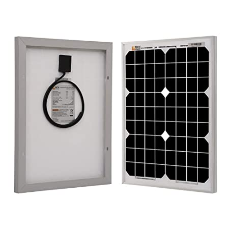 Richsolar 20 Watts 12 Volts Monocrystalline Solar Panel for DC 12V Battery Charging and Any Other Off Grid Applications