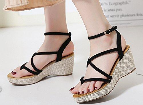Ecollection Womens Ladies Flatform Wedge Sandals Ankle Lace Up Shoes Black 6DGcHPi