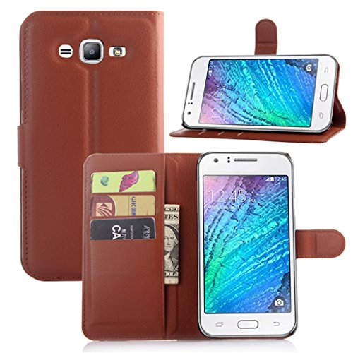 """Samsung Galaxy J7 (2015) J700M 5.5"""" Case, ANGELLA-M Retro Litchi Texture Classic PU Leather Wallet Stand Card Slot Flip Protective Cover - Brown"""
