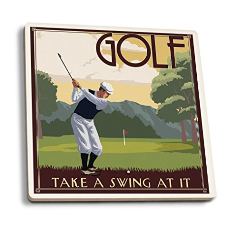 Lantern Press Golf - Take a Swing at It (Set of 4 Ceramic Coasters - Cork-Backed, Absorbent)