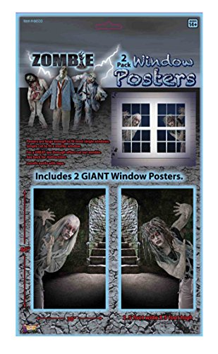 Forum Novelties Zombie Window Posters (Set of 2), 5', Black