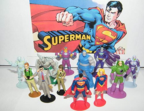 Doomsday Figure Set - Superman DC Superhero Party Favors Goody Bag Fillers Set of 13 Figures with Supergirl, Clark Kent, Brainiac, Jimmy Olsen, Doomsday and More!