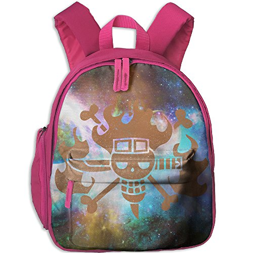 Distressed Jolly Roger - Classic Pirate Flag Toddler Kids Backpack Preschool Backpack Pink Mini (Red Pirate Beard And Moustache)