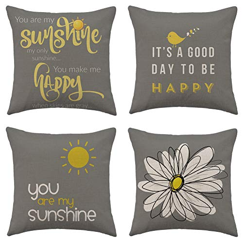 """WFLOSUNVE Yellow On Grey Decorative Throw Pillow Covers 18""""x 18"""" Set of 4, Faux Linen Bird Flower Sunshine Pillow Case Cushion Cover for Bed and Couch"""