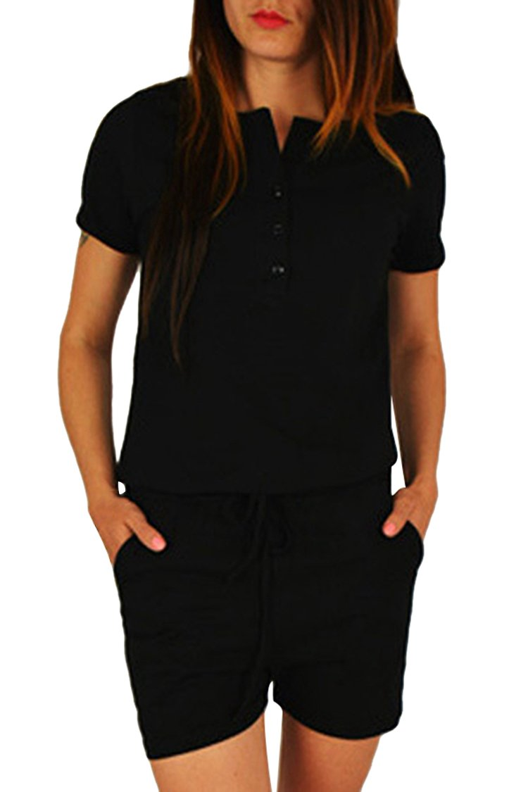 Selowin 2017 Summer Fashion Sport Button Down Short Elastic Waist Romper Plausuit Black S by Selowin