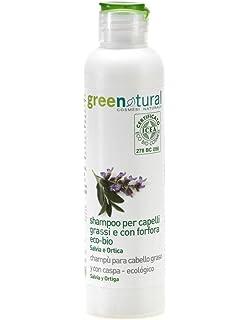 GREEN NATURAL - Champú para Cabello Graso con Salvia y Ortiga - Anticaspa, astringente,