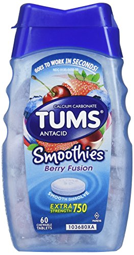 Tums Smoothies Antacid Chewable Tablets, Berry Fusion - 60 Count (Pack of 2)