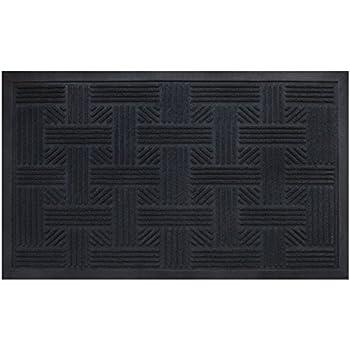 Cross Hatch Doormat By Alpine Neighbor   Low Profile Waterproof Outdoor  Black Door Mat   Washable