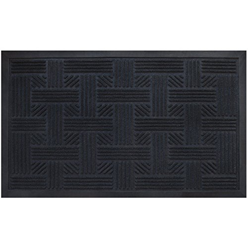 Cross Hatch Doormat By Alpine Neighbor | Low Profile Outdoor Black Door Mat | Washable Cross-Hatch Outdoor Rubber Front Entrance Floor Shoes Rug | Garage Entry Carpet Decor for House Patio Grass Water