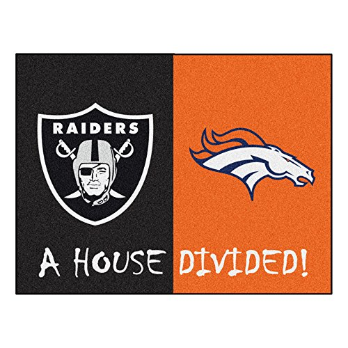 NFL House Divided - Raiders/Broncos House Divided Non-Skid Mat Rectangular Area (Nfl Area House Rugs)