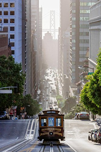 Cable Car on San Francisco California Street Photo Art Print Mural Giant Poster 36x54 -