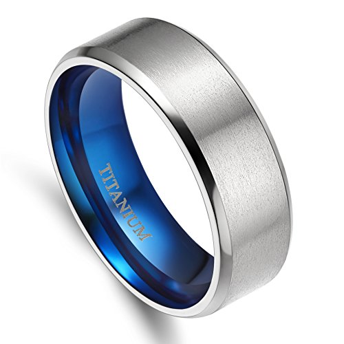 4MM/6MM/8MM Unisex Titanium Wedding Band Rings in Comfort Fit Matte Finish for Men Women