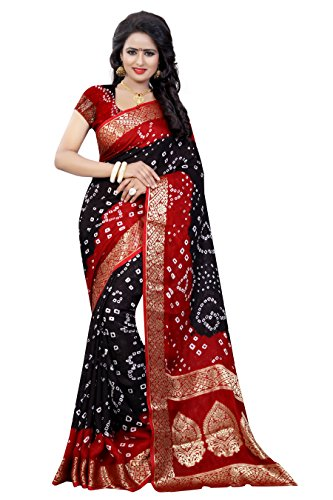 (Divine International Women's Traditional Art Silk Fabric Butta Pallu Bandhani Sarees)