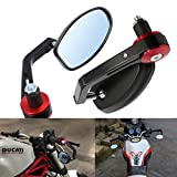 "ViZe 7/8"" 22mm Side bar Mirrors Bar End Mirrors Universal Rear View Mirrors For Yamaha Honda Triumph Ducati Motif Black-Red"
