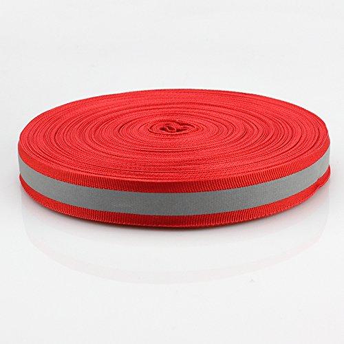 Silver Reflective Fabric Strip Trim Webbing Sew On Red 20mm x 45m by JINBING