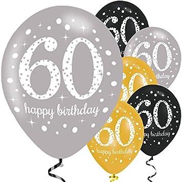 Schön Feste Feiern Luftballon Zum 60 Geburtstag | 6 Teile Gold Schwarz Silber |  Geburtstags Deko 60