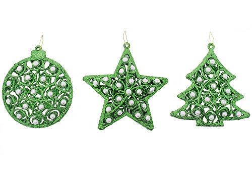 Medium Christmas Balls (Festive Elegant Shimmering Sparkling Christmas Holiday Tree, Star, & Circle Glitter Ornaments with Pearls Set, Green, Medium, 3 Pack, 4.5