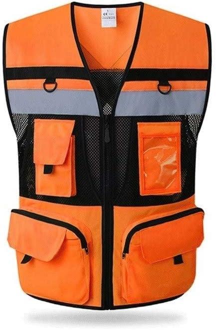 Mr.T Cardigan chaleco reflectante chaleco de seguridad multi-bolsillo Riding traje de alta visibilidad Chaleco Advertencia Vestimenta de reflectores de advertencia
