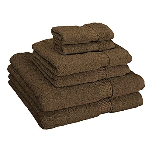 Superior 900 GSM Luxury Bathroom 6-Piece Towel Set, Made 100% Premium Long-Staple Combed Cotton, 2 Hotel & Spa Quality Washcloths, 2 Hand Towels 2 Bath Towels - Chocolate by Superior (Image #1)