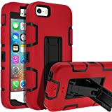 5s iPhone Case,iPhone SE Case,iPhone 5 Case,SENON Slim-fit Shockproof Anti-Scratch Anti-Fingerprint Kickstand Protective Case Cover for Apple iPhone SE/5S/5, Red