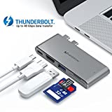 Dual USB C Hub for MacBook Pro 13'' & 15'' - HDMI - USB 3.0 - Thunderbolt 3 - SD & Micro SD Card Reader - 5-in-1 USB-C Adapter - High Data Transfer Speed - Pass-Through Power & Stable Connection