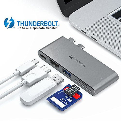 Dual USB C Hub for MacBook Pro 13'' & 15'' - HDMI - USB 3.0 - Thunderbolt 3 - SD & Micro SD Card Reader - 5-in-1 USB-C Adapter - High Data Transfer Speed - Pass-Through Power & Stable Connection by Maerow