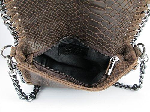 Clutch borsa da sera tracolla in catena vera pelle Made in Italy piton fg marrone