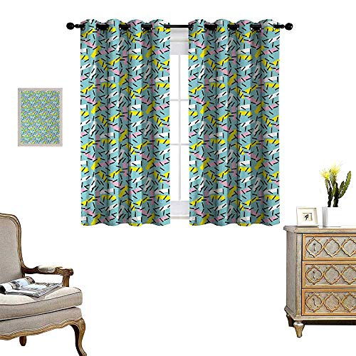 Anyangeight Geometric Room Darkening Wide Curtains Italian Style Trippy Memphis Bands Postmodern Kitsch Futuristic Abstract Theme Decor Curtains by W63 x L45 Multicolor